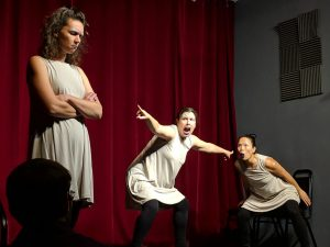 [ ] - improv without words (Casey Busher, Dominica Malcolm, Shirley Chan) at All Out Comedy Theater. Photo by Christopher DeJong.
